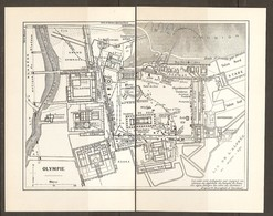 CARTE PLAN 1953 - GRECE GRECIA GREECE - OLYMPIE GYMNASE TEMPLE De ZEUS STADE HIPPODROME AGORA PALESTRE METROON - Topographische Karten