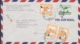 Haiti Air Mail PHARMACIE VALLIERS, PORT-AU-PRINCE 1954 Cover Lettre DÜSSELDORF Helicopter Hubschreiber 3x Flag Flagge - Haiti