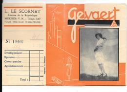 Ancienne POCHETTE Publicitaire Vide NEGATIFS PHOTOS GEVAERT -9.5x12.5 - L.LE SCORNET à MEKNES - Femme Au Chapeau - Photographie