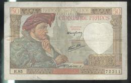 Billet 50 Francs France Jacques Coeur 15-5-1941.F - 1871-1952 Antichi Franchi Circolanti Nel XX Secolo