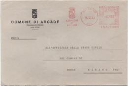 Tematica Comuni D'Italia: Affrancatura Meccanica Rossa Comune Di Arcade (Treviso) Su Busta 16.12.1993 - Affrancature Meccaniche Rosse (EMA)