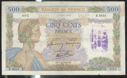 """Billet 500 Francs France La Paix 1-10-1942 BS- Tampon """" Payé """" - 1871-1952 Gedurende De XXste In Omloop"""
