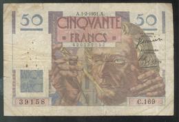 Billet 50 Francs France Le Verrier 1-2-1951 A - Etat Moyen - 1871-1952 Antiguos Francos Circulantes En El XX Siglo