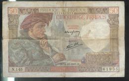 Billet 50 Francs France Jacques Coeur 18-12-1941.D Etat Moyen - 1871-1952 Antichi Franchi Circolanti Nel XX Secolo