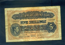 EAST AFRICA 5 SHILLINGS 1943 - Billetes