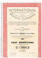 Titre Ancien - International Motors Company -  Société Anonyme - Titre De 1939 - N° 05853 - Automobile