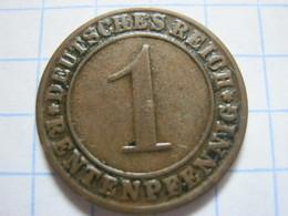1 Rentenpfennig 1924 (F) - [ 3] 1918-1933 : República De Weimar