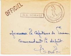 France , Courrier Interne  Du DE Somali Pur Le Dépôt De Toulon  TB - Marcophilie (Lettres)