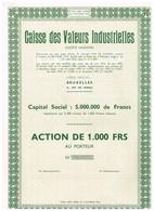 Titre Ancien - Caisse Des Valeurs Industrielles -  Société Anonyme - Titre De 1957 - Uncirculed - Banque & Assurance