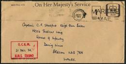 1974 GB British Army / Navy H.M.S. ESKIMO O.C.R.M. Cover - Capt. Stratford, Kings Own Border, Infantry School, Brecon - 1952-.... (Elizabeth II)