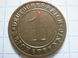 1 Reichspfennig 1925 (F) - [ 3] 1918-1933 : Weimar Republic