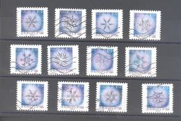 France Autoadhésifs Oblitérés N°1629 à 1640 (série Complète : Flocons De Neige) (lignes Ondulées) - Adhésifs (autocollants)