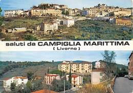 "4946 "" SALUTI DA CAMPIGLIA MARITTIMA(LIVORNO) ""2 VEDUTE-INSEGNA PIAGGIO-CARTOLINA POSTALE ORIG. SPED.1974 - Saluti Da.../ Gruss Aus..."