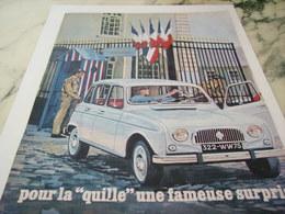ANCIENNE PUBLICITE LA QUILLE AUTOMOBILE  4L  RENAULT 1965 - Transporto