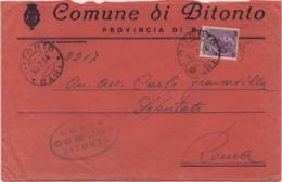 Tematica Comuni D'Italia: Siracusana £. 25 Su Busta Comune Di Bitonto (Bari) Del 30.07.1954 - 1946-.. République