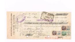 Mandat Victor Wurtz,Metz à Mr.Jacob à Hayange.Timbres Fiscaux. - Chèques & Chèques De Voyage
