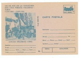 IP 92 - 65 FAGARAS, Railway Station & Train - Stationery - Unused - 1992 - Treni