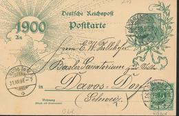 Ganzsache Germania 1899 Bremen Nach Davos Dorf Mit Zusatzfrankatur  Basler Sanatorium Zur Villa         [18/0058] - Germany