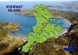Stewart Island Map New Zealand New Postcard Neuseeland Insel Landkarte AK - Nuova Zelanda