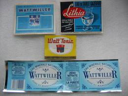 4 Anciennes étiquettes Sources De WATTWILLER - Etiquettes