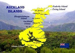 New Zealand Subantarctic Islands UNESCO Auckland Islands Map New Postcard Neuseeland AK - Nuova Zelanda