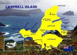 New Zealand Subantarctic Islands UNESCO Campbell Island Map New Postcard Neuseeland AK - Nuova Zelanda