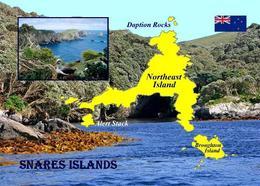 New Zealand Subantarctic Islands UNESCO Snares Islands Map New Postcard Neuseeland AK - Nuova Zelanda