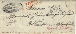 1870- Lettre De Nogent-Hte-Marne ( Haute Marne ) Cad T16  Taxe 30 Dt  Avec Retour Rouge 92 De Chanfraines - Postmark Collection (Covers)