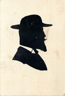 """CARTE SILHOUETTE - FORMAT (9 X 13 Cm) - DECOUPAGE PROFIL COLLE - 1904 - """"HOMMEAU CHAPEAU'. - Silhouette - Scissor-type"""