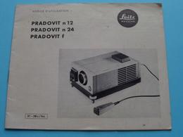 PRADOVIT N 12 - N 24 - F > Notice D'Utilisation / Gebruiksaanwijzing ( Voir / Zie Photo ) ERNST LEITZ Wetzlar (Compleet) - Diapositivas