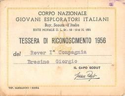 """4962 """" CORPO NAZIONALE GIOVANI ESPLORATORI ITALIANI-TESSERA DI RICONOSCIMENTO 1956 N° 1173 """" - ORIGINALE - Vecchi Documenti"""