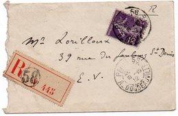 LETTRE RECOMMANDEE AFFRANCHIE SEMEUSE N° 136  - OBLITERE CAD PARIS 58- ANNEE  1912 - 1877-1920: Période Semi Moderne