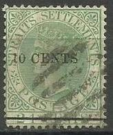 Straits Settlements - 1891 Queen Victoria Surcharge 10c On 24c  Used    Sc 75 - Straits Settlements