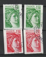 FRANCE SABINE 1977-79 YT N° 1981A, 1981B, 2062 Et 2063 Obl. - 1977-81 Sabine De Gandon