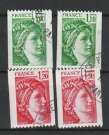 FRANCE SABINE 1977-79 YT N° 1981A, 1981B, 2062 Et 2063 Obl. - 1977-81 Sabina Di Gandon