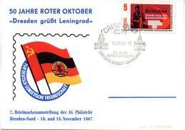 "(DDR-B1) DDR Sonderpostkarte ""7. BM-Ausstellung Dresden - 50 Jahre Roter Oktober"" EF Mi 1312A, SSt.19.11.67 DRESDEN 23 - [6] République Démocratique"