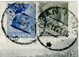 MICHETTI Cent 25 Azzurro + LEONI Cent 15 Su Cartolina Sanremo Per Saint-Héand Francia - 1900-44 Vittorio Emanuele III