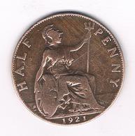 HALF PENNY  1921   GROOT BRITANNIE /5698// - 1902-1971 : Monnaies Post-Victoriennes