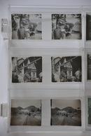 3 Vues Stéréoscopiques Sur Plaques De Verre - Asie Asia Chine China - Chemin De Fer Station Railroad Marchand Merchant - Diapositivas De Vidrio