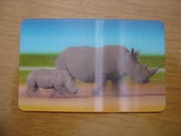 2014 Carte Animée CORA Collector Animaux Animals RHINOCEROS 35/44 - Autres Jeux De Cartes