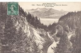 JURA PITTORESQUE .1651. ROUTE DE LA FAUCILLE . LE LAC DE GENEVE ET LES ALPES . AFFR SUR RECTO LE 27-8-1923 - France