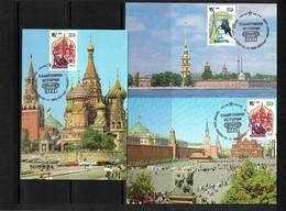 Russia SSSR 1989 Churches 3 Maximumcards - Kirchen U. Kathedralen