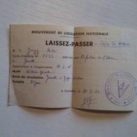 Mouvement De Libération Nationale GRENOBLE Laissez-passer Mission Spéciale 11-9-44 - Documents Historiques
