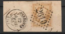 FRANCE NAPOLEON III 1862 YT N° 21 Obl. LOSANGE GC 2610 AVEC CACHET NARBONNE - 1862 Napoléon III.