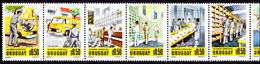 Uruguay 1977 National Mail Service Unmounted Mint Full Strip Of 10. - Uruguay