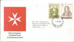 ORDEN DE MALTA 1984 CC A ARGENTINA AL DORSO LLEGADA - Malta (la Orden De)