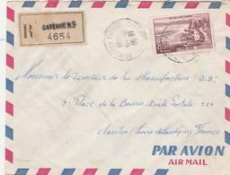 Yvert 1193 Evian Seul Sur Lettre Avion  Recommandée 4654 CAYENNE Guyane Française 15/9/1959 Pour Nantes - Guyane Française (1886-1949)