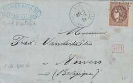 NORD - LILLE - SECTION DE FIVES - CERES DE BORDEAUX - 30c BRUN N°47 OBLITERATION GC2046 C - TARIF FRONTALIER POUR LA BEL - Marcofilia (sobres)