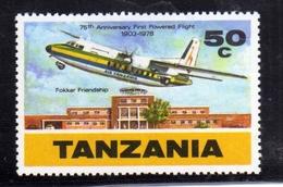 TANZANIA 1978 ANNIVERSARY OF FIRST POWERED FLIGHT FOKKER FRIENDSHIP DAR ES SALAAM AIRORT CENT. 50c MNH - Tanzania (1964-...)