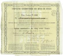 Compagnie Charbonnière, Mines De Sincey. Action Nominative De 500 Francs. Cambrai 1867. - Mines